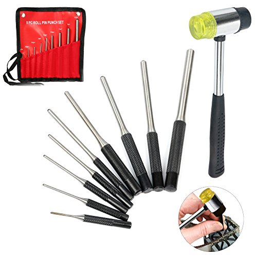 (YaeTek 9-piece Roll Pin Punch Set and 1 Double faced mallet, Hand Pin Remover Tool for Jewelers, Gunsmith, Watch Makers, Repairs and Crafts)