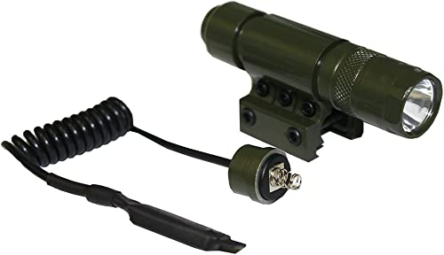 Ultimate Arms Gear OD Olive Drab Green 90 Lumens Military Flashlight CREE LED Light Kit Mount, Pressure Switch, Tail Cap, And Batteries-Paintball-Rifle-Gun-Weapon For Weaver Picatinny Rail