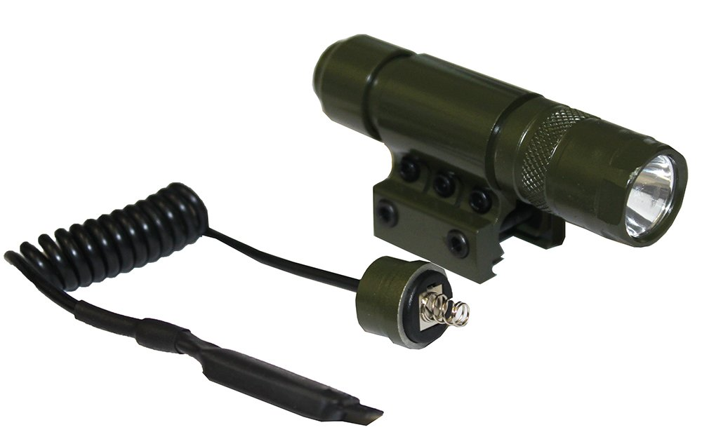 Ultimate Arms Gear OD Olive Drab Green 90+ Lumens Military Flashlight CREE LED Light Kit+Mount,Switch, Tail Cap, Batteries-Mossberg 500 590 835 Maverick 88 Shotgun For Weaver/Picatinny Rail