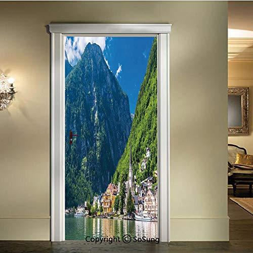 baihemiya 3D Door Wallpaper Stickers,Natural View of Hallstatt in Austria Mountains Forest Town Houses Clear Sky,W30.3xL78.7inch,Suitable for Any Dry,Flat surfaceGreen Blue White