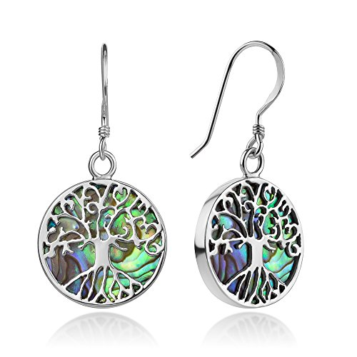 Sterling Silver Filigree Tree of Life Symbol Genuine Green Abalone Shell Dangle Earrings 1.3