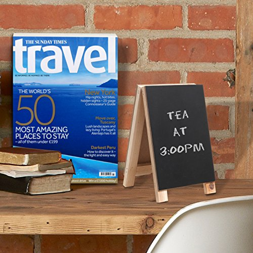8 inch Decorative Freestanding Tabletop Wooden Easel Chalkboard Display Sign, Message Board