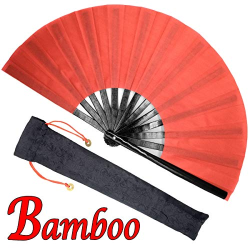OMyTea Bamboo Large Rave Folding Hand Fan for Men/Women - Chinese Japanese Kung Fu Tai Chi Handheld Fan with Fabric Case - for Performance, Decorations, Dancing, Festival, Gift (Red)