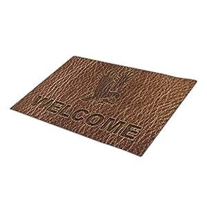 Hey U Leather Brown Christmas Door Mat