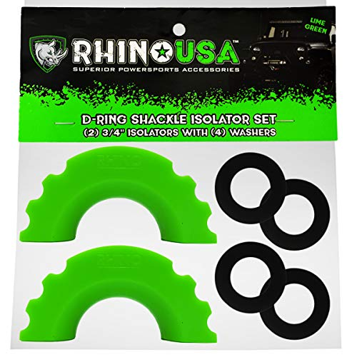Rhino USA (2 D-Ring Shackle Isolators with (4) Washers (Green) by Rhino USA