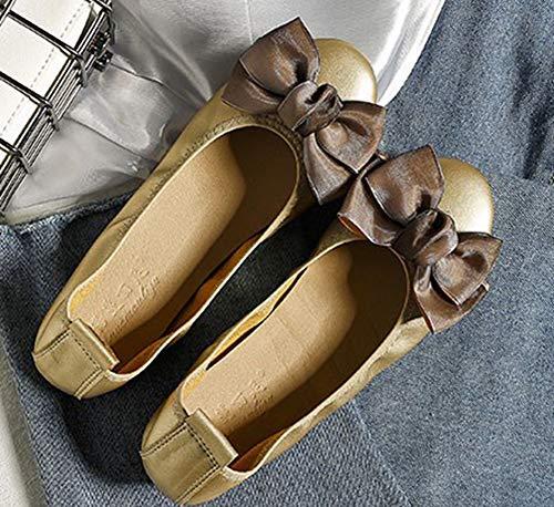 Or De Ballerines Mode Noeud Femme Aisun Chaussures Plates Danse t80BqqA5