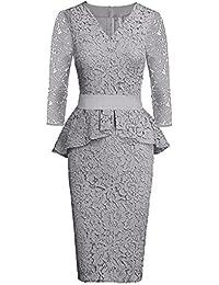 Women's Lace Peplum Cocktail Bodycon Midi Dress Vintage 3 Quarters Long Sleeve