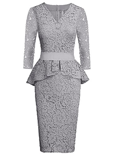 Women's Dresses Lace Peplum 3 Quaters Long Sleeve Bridesmaid Midi Gown Grey XL (Sleeve Long Bridesmaid)