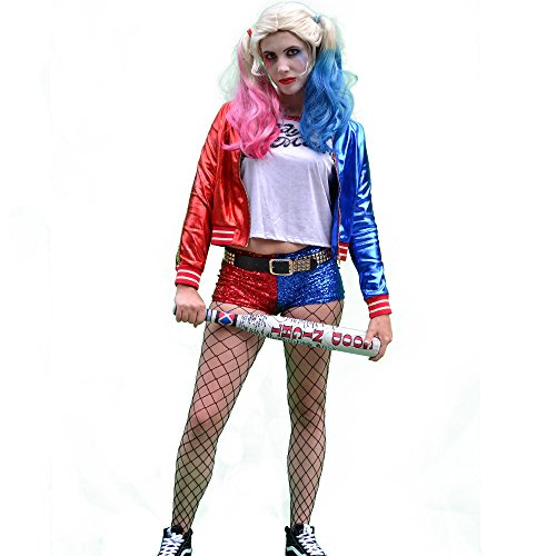 Harley Quinn Costume Shoes (Charades Harley Quinn Suicide Squad Premium Costume Bundle with Wig, Makeup Kit, and Good Night Bat (8 items) (Medium))