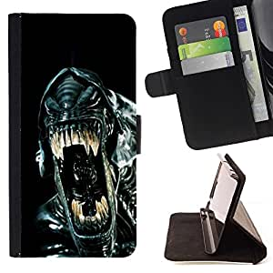 For Sony Xperia Z1 Compact D5503 Sci-Fi Movie Black Alien Ufo Beautiful Print Wallet Leather Case Cover With Credit Card Slots And Stand Function