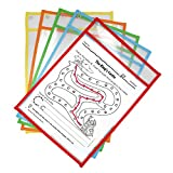 Dry Erase Pockets Reusable Plastic Paper Sleeves,9 x 12 Inches,Mixed Colors,Homeschool Supplies Clear Folders(10-Pack)