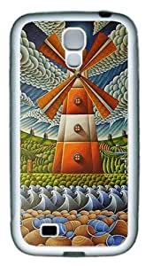 Abstract Windmill Custom TPU Rubber Case Cover for Samsung Galaxy S4 / SIV / I9500 White