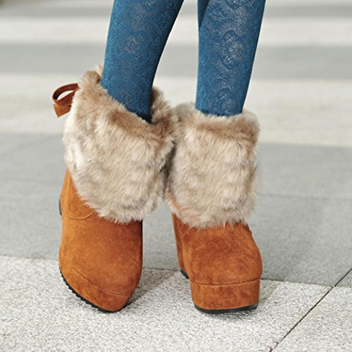 Solid Boots Warm Bow Tie Snow Brown Plush TM Warm Shoes Outdoor Winter Ankle Elevin Shoes 2018Womens YUgFFO