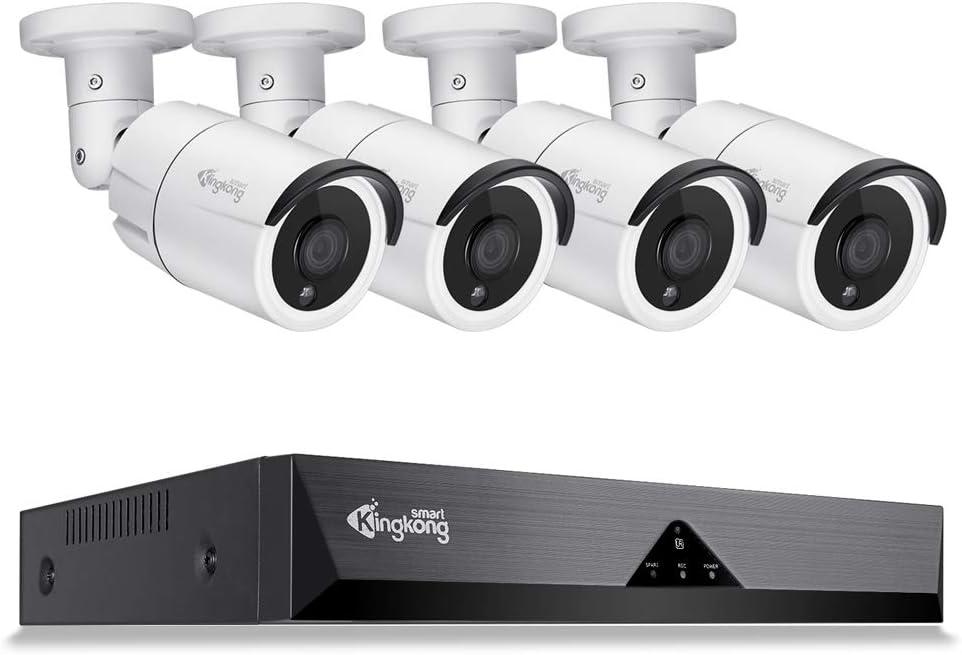 KingKongSmart 5MP 8CH POE Home Security Camera System, 5MP NVR Video Recorder, 4PCS Audio Bullet POE Camera Outdoor, 3.6mm Lens, 100ft Night Vision, IP67 Weatherproof Motion Alert H.265 (White)