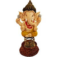 Divya Mantra Bobblehead Figure for Office, Car Dashboard Bobble Head Spring Shaking Sri Ganesha Kids Toy Doll Showpiece, Collection Figurines, Home Decor/Yoga Meditation Room Decoration - Yellow