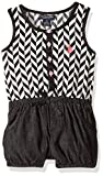 U.S. Polo Assn. Little Girls' Poplin Tank and Denim Bubble Short Romper, Black, 4