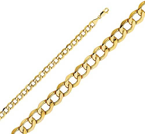 Wellingsale 14k Yellow Gold 6.5mm Polished HOLLOW Cuban Concaved Curb Chain Necklace