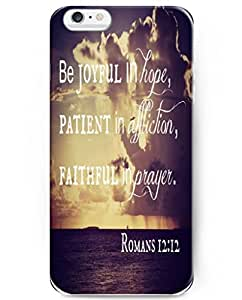 5.5 Inch Iphone Case with Inspiration Bible Sayings Be Joyful in Hope, Patient in Affiction, Faithful in Prayer by runtopwell