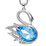 CDE Swan Sweater Necklace Womens Animal Swarovski Crystal Pendant Necklaces Fashion Jewelry for Her Chain 31.5''+2''