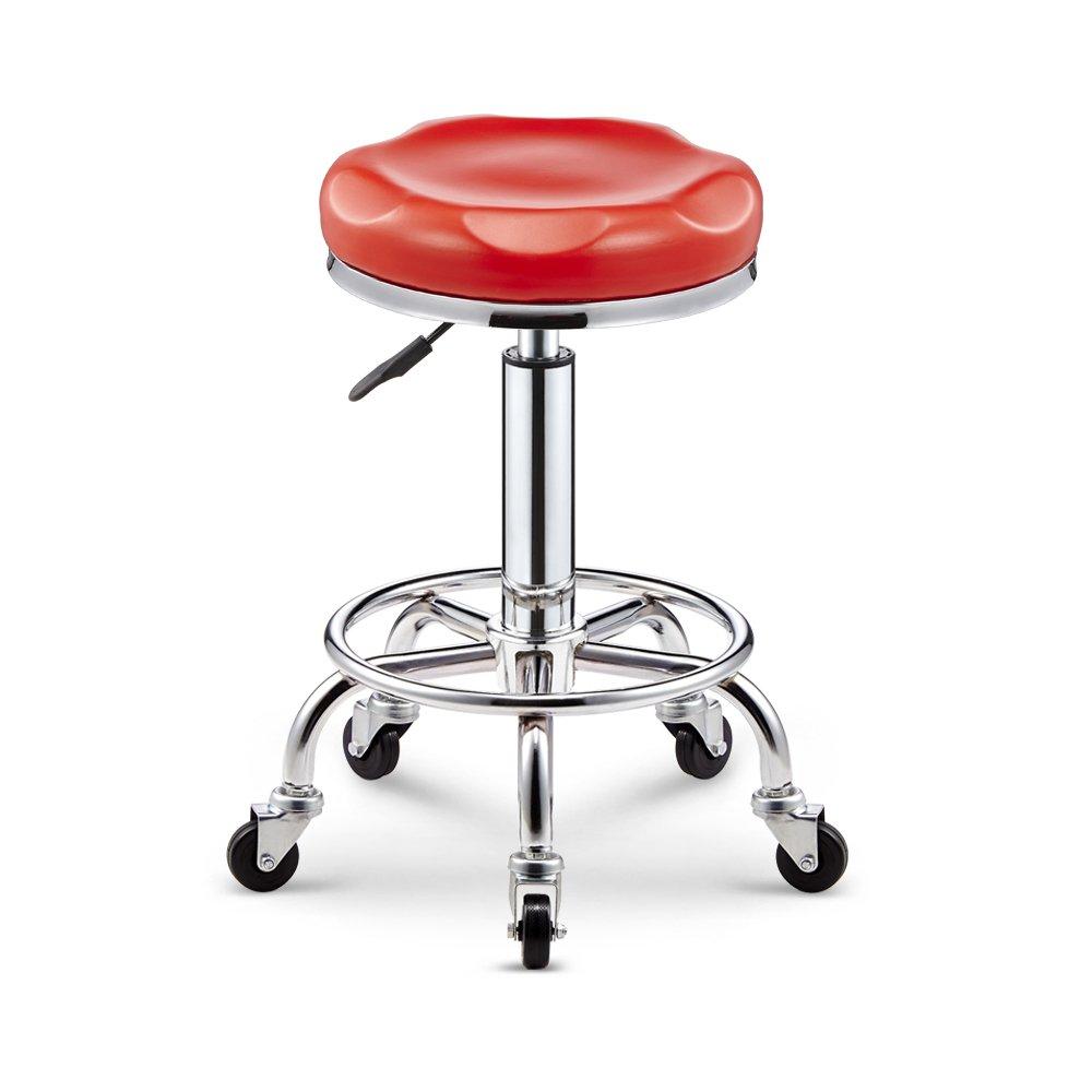 WURE Simple Bar Chair Swivel Chair Beauty Salon Spa Salon Chair (Color : Red)