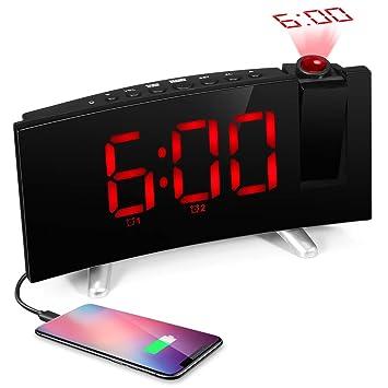 SKM Reloj Despertador de Proyección Digital Radio FM Reloj de Viaje Reloj de Cabecera Proyector Giratorio
