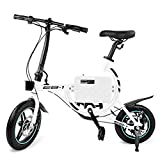 SwagCycle EB-1 Lightweight Aluminum Folding eBike with High-Torque 250W Motor and Dual Disc Brakes; Electric Bike with Pedal-Assist and Swappable Bike Seats (White)