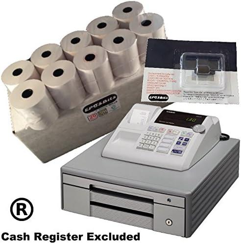 eposbits® marca 20 rollos + 1 x de tinta para Casio grande Draw 130 CR 130 CR caja registradora: Amazon.es: Oficina y papelería