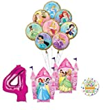 Disney Princess Party Supplies 4th Birthday Balloon Bouquet Decorations with 8 Princesses