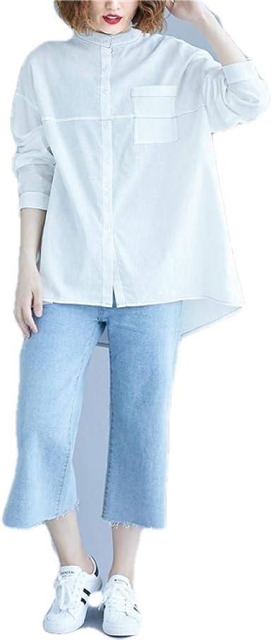 Blusas y Camisas para Mujer Nuevo Gran Tamaño De Las Mujeres Gordas Mm De Pie Cuello De Costura De Manga Larga De Algodón Y Lino: Amazon.es: Ropa y accesorios