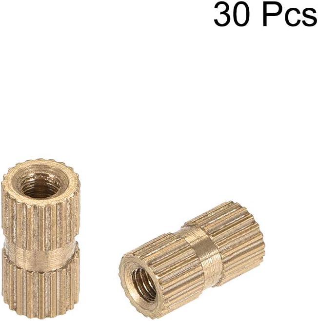 OD Messing x 3.2mm 30 St/ück M2 x 4mm ,30 Pcs Innengewinde L uxcell R/ändelmutter Einsteck-Sortiment
