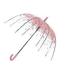 Bubble Stick Umbrella Clear Dome Umbrella Transparent color pattern by TOSOAR (Pink cherry blossom)