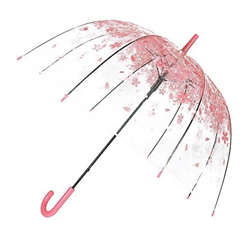 Transparent Stick Umbrella Clear Bubble Dome Shape Umbrella color pattern by TOSOAR (Pink cherry blossom)