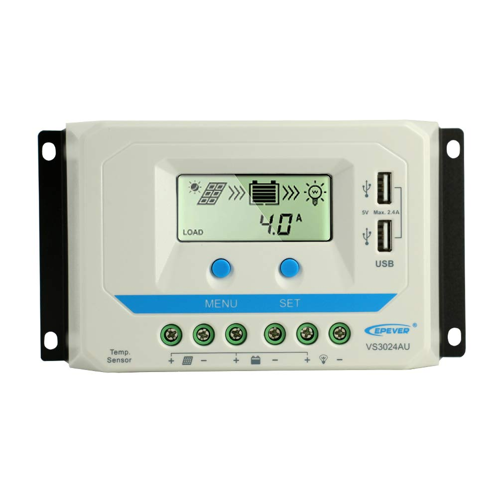 EPEVER 30A Solar Charge Controller 12V 24V Auto, Solar Charge Regulator 30 amp Max input 360W 12V , 720W24V with LCD Display and Dual USB 5V Output, for Lead-Acid Gel Sealed Flooded Batteries VS3024AU