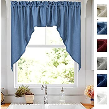 hang make kitchen to blue curtains curtain cornflower valances navy valance waterfall