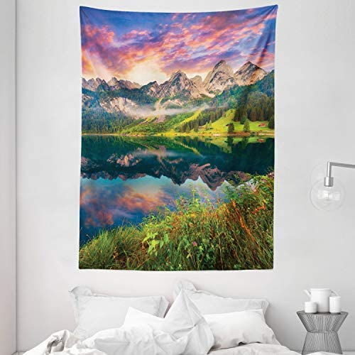 Ambesonne Landscape Tapestry, Summer Sunrise on Vorderer Gosausee Lake in The Austrian Alp Mountains, Wall Hanging for Bedroom Living Room Dorm, 60 X 80 , Coral Green