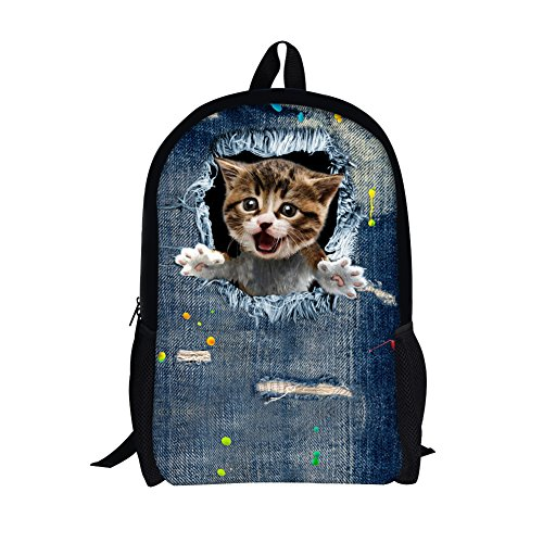 TOREEP Cute Cat Dog Print Casual Laptop Backpack School - Sunnies Your Get Online