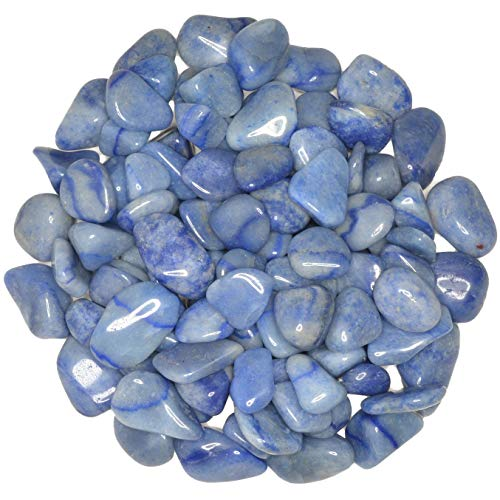 Hypnotic Gems Materials: 1 lb Blue Quartz Tumbled Stones - Grade 1 - XSmall - 0.5