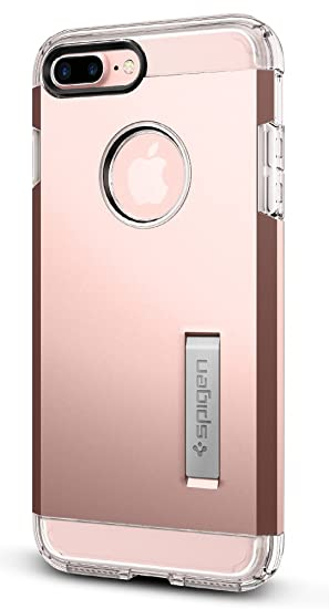 outlet store 6cc73 acc10 Spigen Tough Armor Designed for Apple iPhone 7 Plus Case (2016) / Designed  for iPhone 8 Plus Case (2017) - Rose Gold