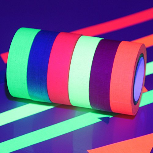 Lolipapa UV Blacklight Reactive Tape Neon Gaffer Tape (Pack of -