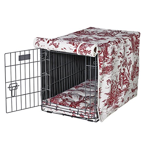 Luxury Crate Cover in Raspberry Toile (Medium - 19 in. L x 30 in. W x 21 in. H)