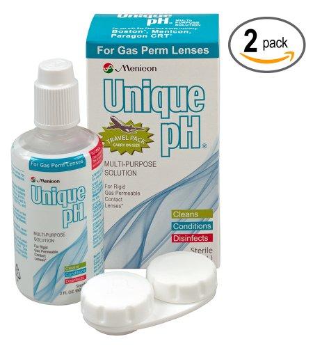 Menicon Уникальный pH Travel Pack (2 жидких унций / 60 мл.) - Multi-Purpose Solution для газопроницаемых контактных линз. Две бутылки