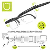 Adlens Newest UZOOM Precision (Grey) Adjustable Focus Reading Glasses Variable Focus Eyeglasses Crafting Glasses Sewing Glasses Painting Embroidery Eyeglasses Magnifying Glass Men and Women