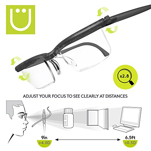 Adlens Newest UZOOM Precision (Grey) Adjustable Focus Reading Glasses Variable Focus Eyeglasses Crafting Glasses Sewing Glasses Painting Embroidery Eyeglasses Magnifying Glass Men and Women by UZOOM