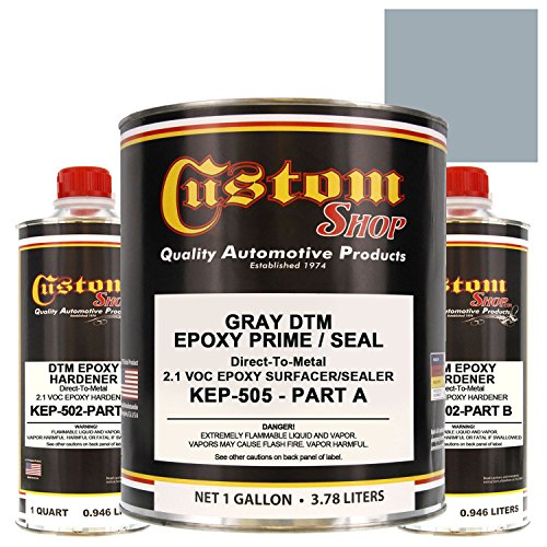 Custom Shop EPOXY PRIMER - GRAY- KIT-KEP505-GL - DTM (Direct to Metal) 2.1 VOC Makes 1-1/2 Gallons Sprayable - For Automotive and Industrial Use