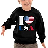 TAGSE I Love USA Funny Logo DIY Customized Print Cool O-Neck Long Sleeve T-Shirt Kids Sweatshirts
