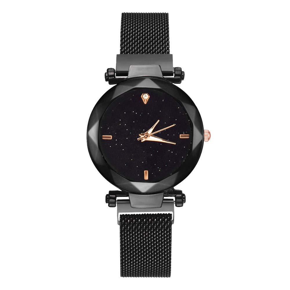 DAYLIN Relojes de Mujer Señora Marca Reloj Pulsera de Cuarzo Reloj Starry Sky Mujer Correa Magnética con Hebilla Diamante Simulado Dial Reloj Dorado Mujer ...
