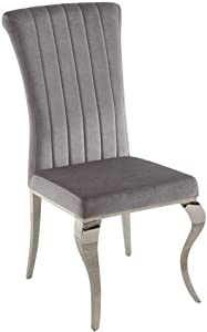 Coaster Home Furnishings Carone Upholstered Grey and Chrome (Set of 4) Side Chair, Gray