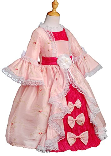 Dressy Daisy Girls' Embroidery Pageant Party Victorian Dress Up Fancy Costume Size 2T-3T Pink with Hot Pink for $<!--$29.99-->