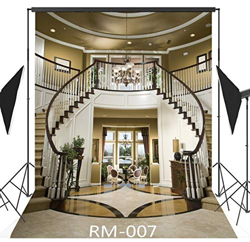 5x7FT Elegant Interior Stairs Photography Backdrop Customized CP Photo Background Studio Prop RM-007]()
