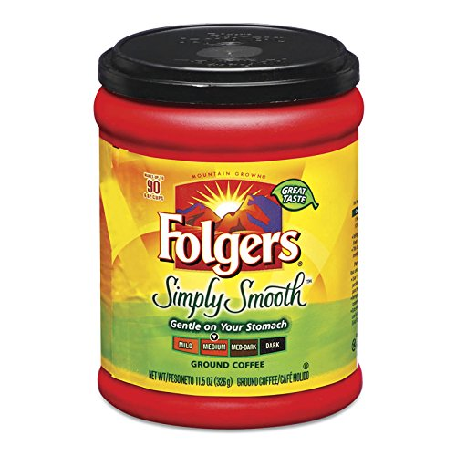 Fresh Taste of Folgers Coffee, Simply Smooth, Gentle on Your Stomach, 11.5 Oz Canister - (1 pk)